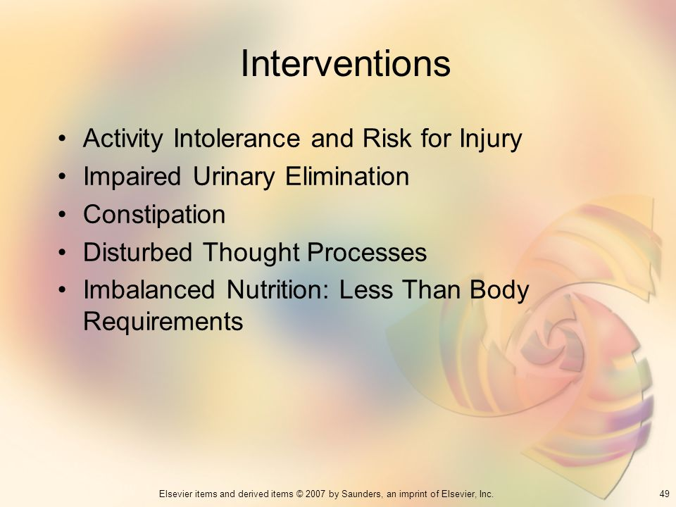 Interventions Activity Intolerance and Risk for Injury