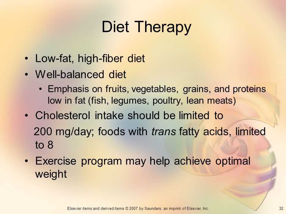 Diet Therapy Low-fat, high-fiber diet Well-balanced diet