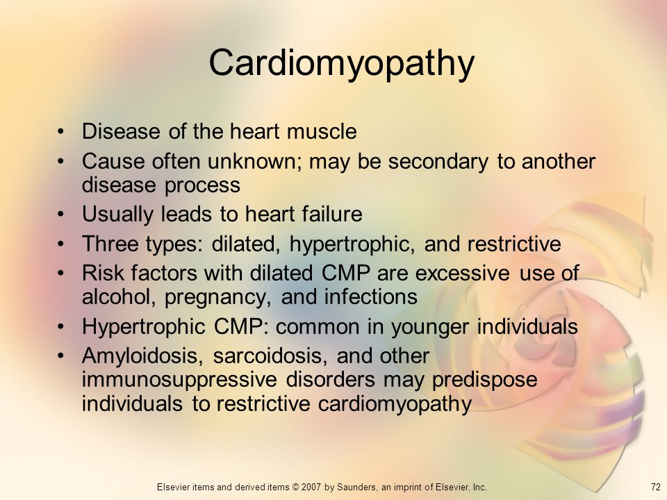 Cardiomyopathy Disease of the heart muscle