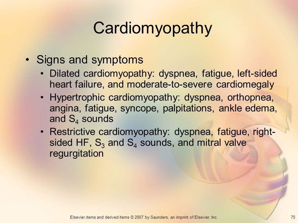 Cardiomyopathy Signs and symptoms