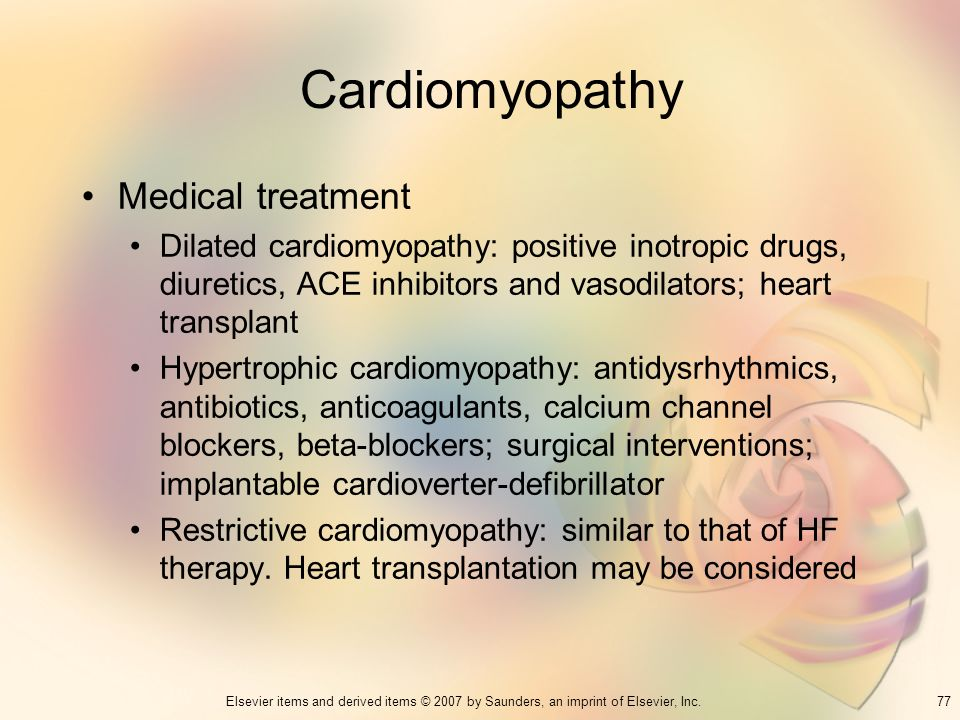 Cardiomyopathy Medical treatment