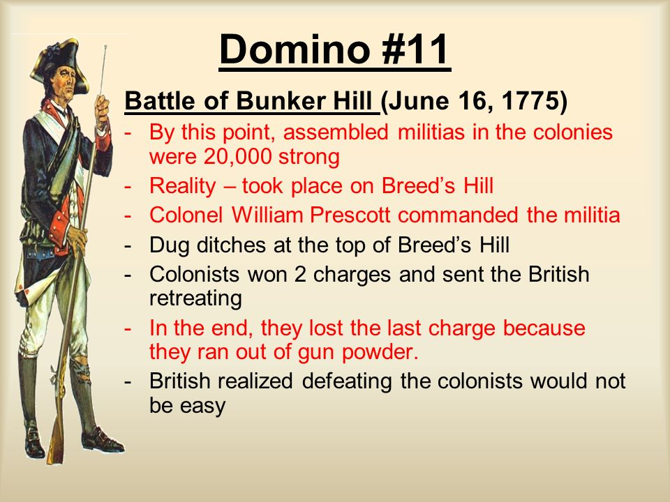 Domino #11 Battle of Bunker Hill (June 16, 1775)