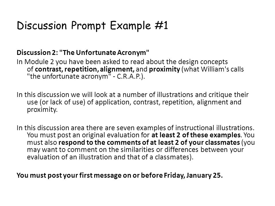 Discussion Prompt Example #1