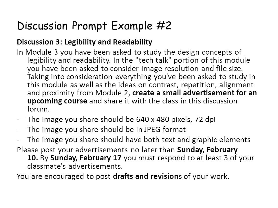 Discussion Prompt Example #2