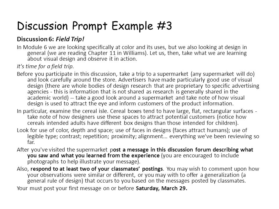 Discussion Prompt Example #3