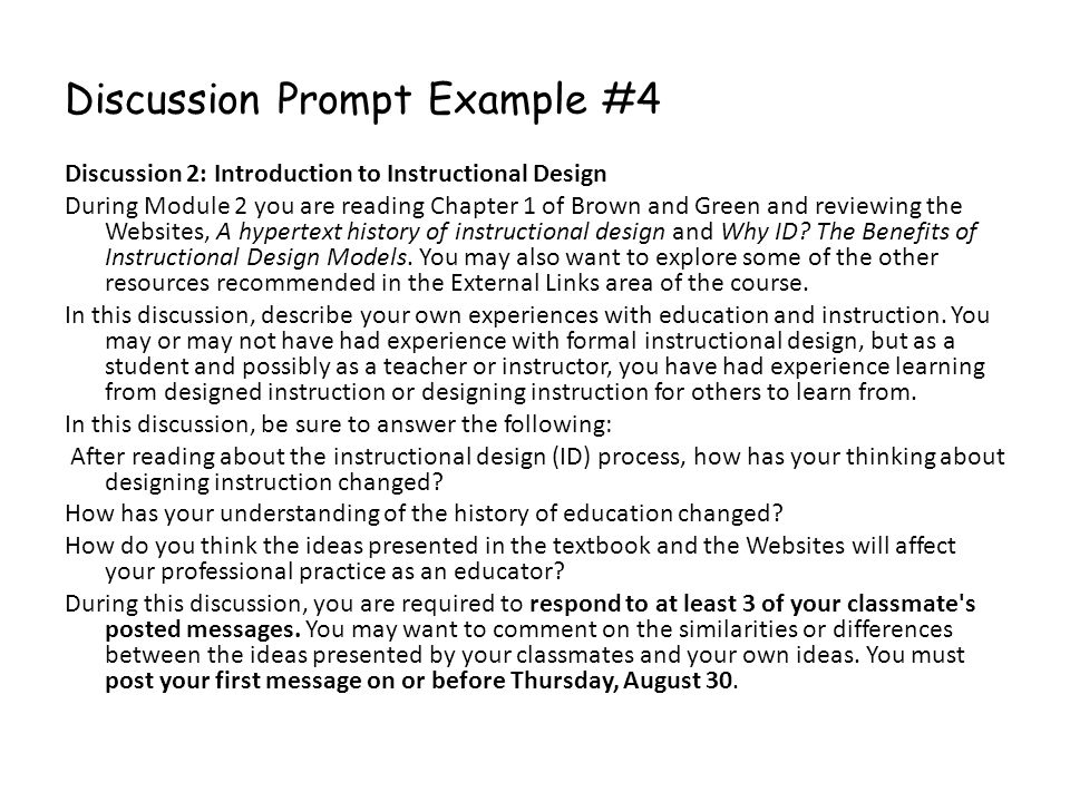 Discussion Prompt Example #4