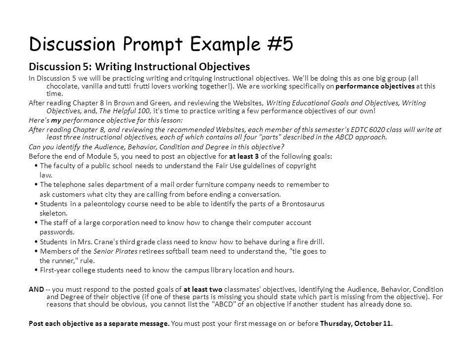 Discussion Prompt Example #5