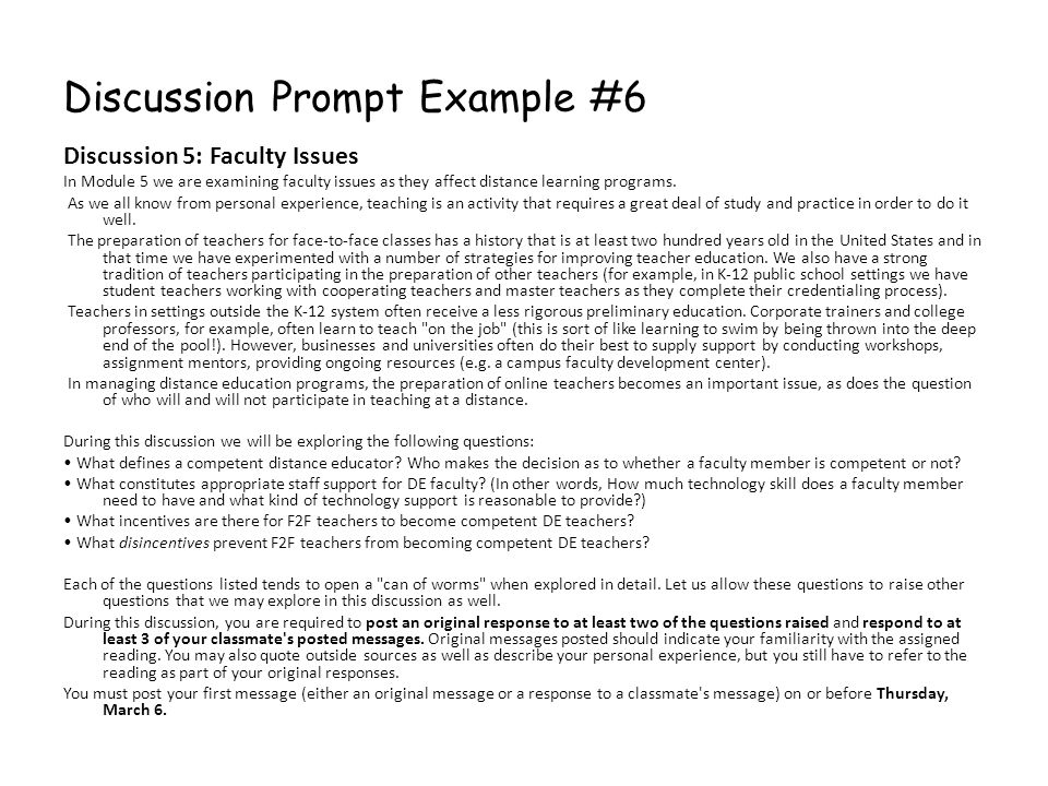 Discussion Prompt Example #6