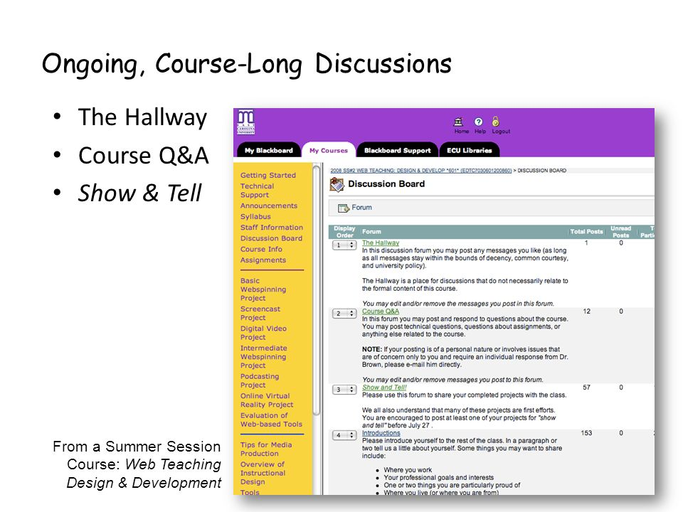 Ongoing, Course-Long Discussions