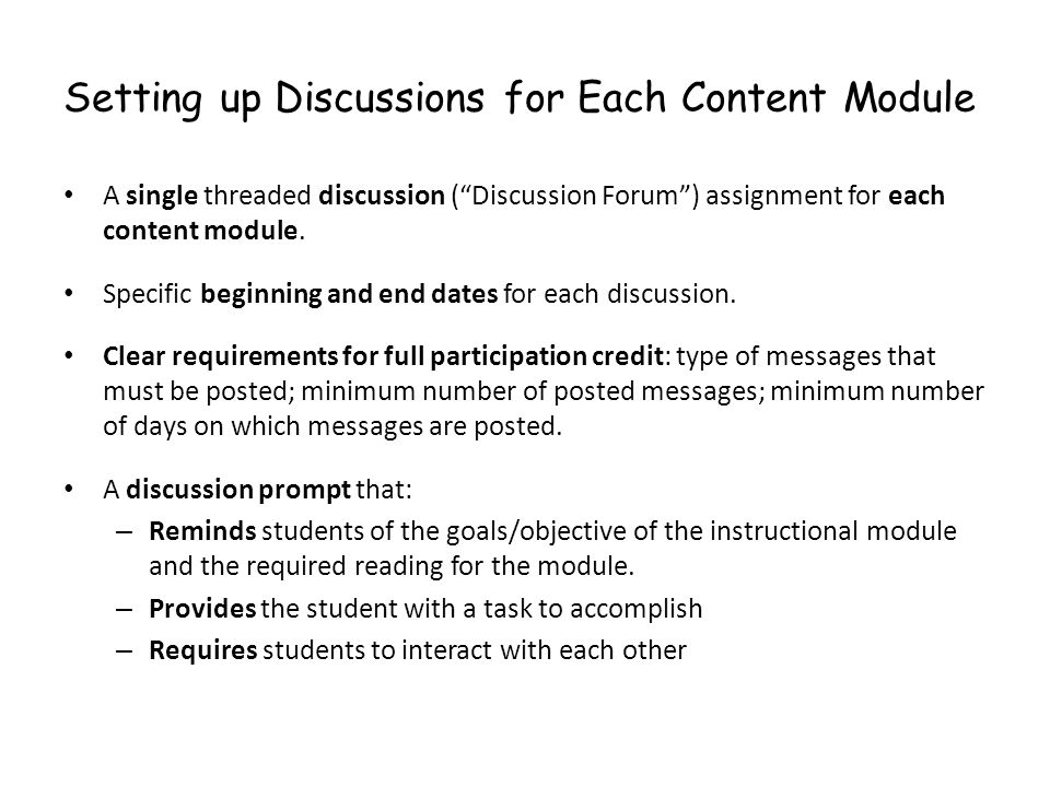 Setting up Discussions for Each Content Module