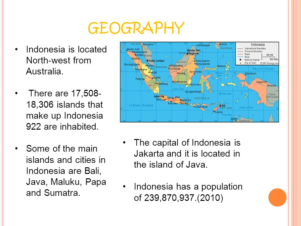 GEOGRAPHY Indonesia is located North-west from Australia.