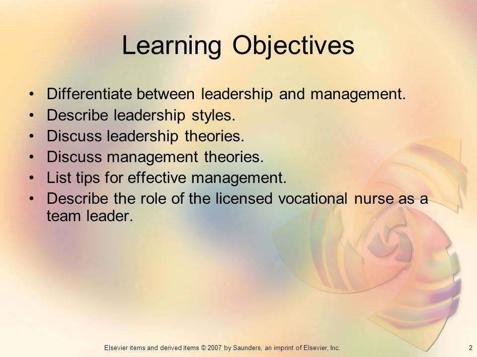 Learning Objectives Differentiate between leadership and management.
