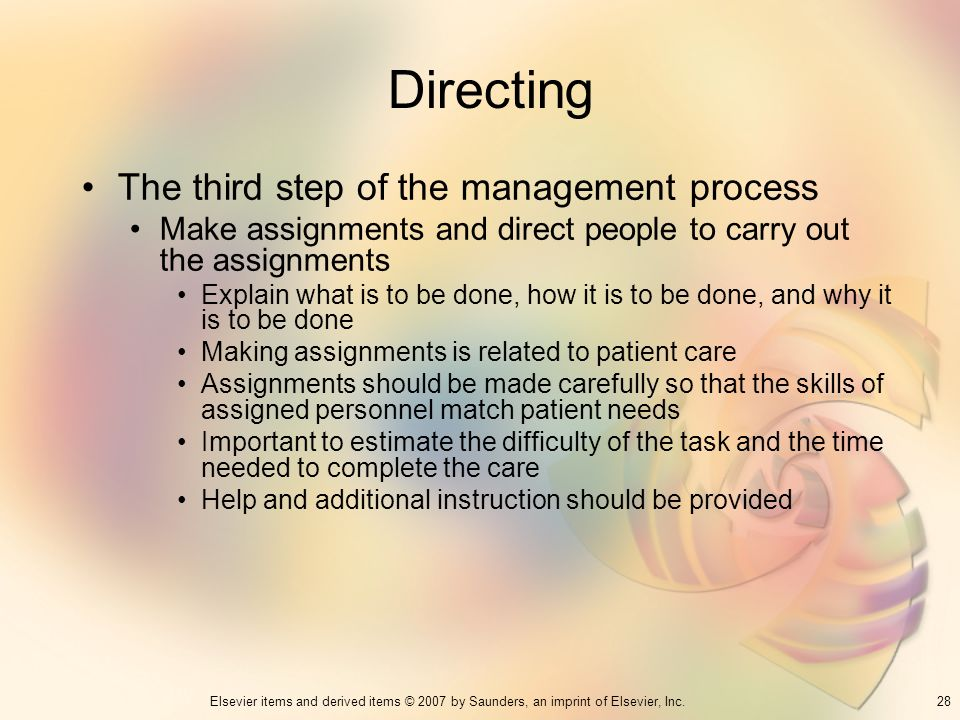 Directing The third step of the management process