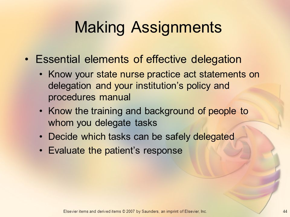 Making Assignments Essential elements of effective delegation