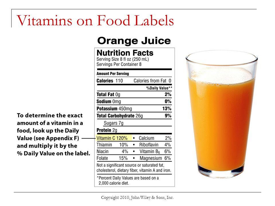 Vitamins on Food Labels