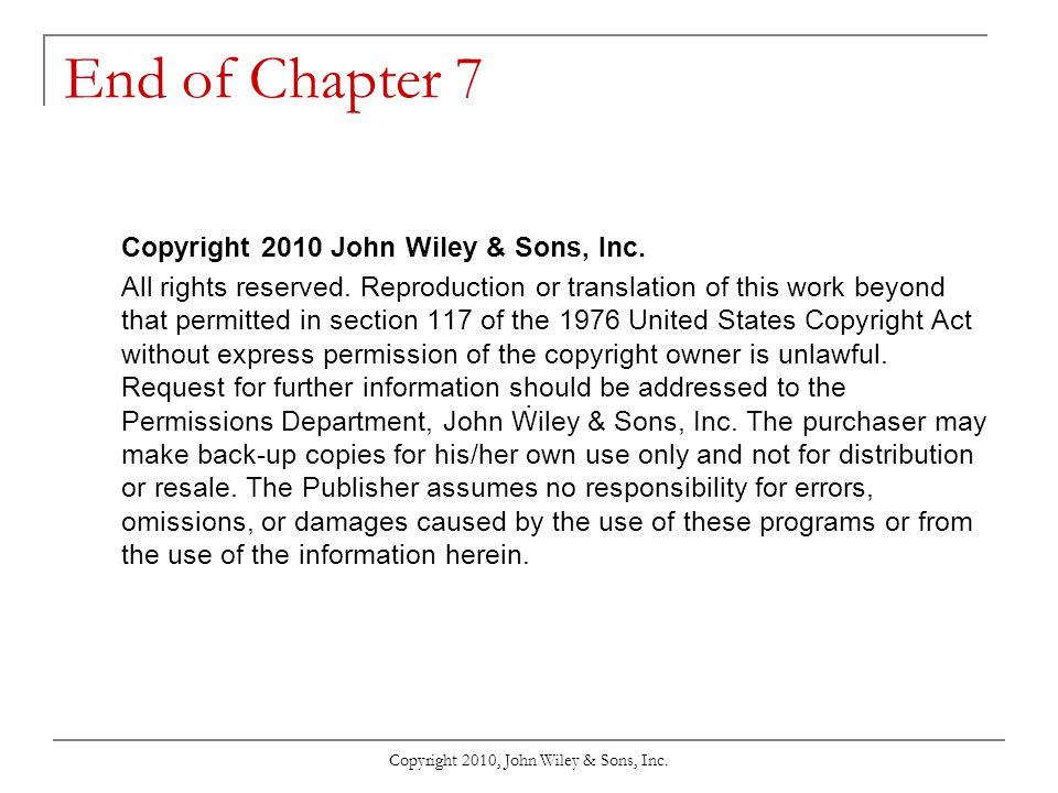 Copyright 2010, John Wiley & Sons, Inc.