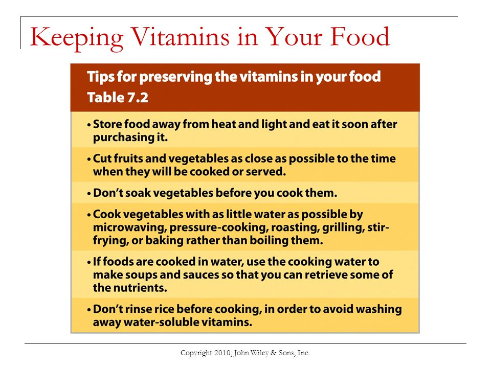 Keeping Vitamins in Your Food