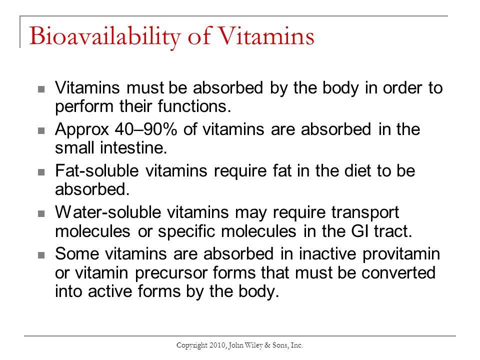 Bioavailability of Vitamins