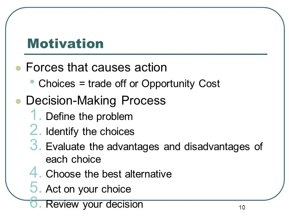 Motivation Forces that causes action Decision-Making Process