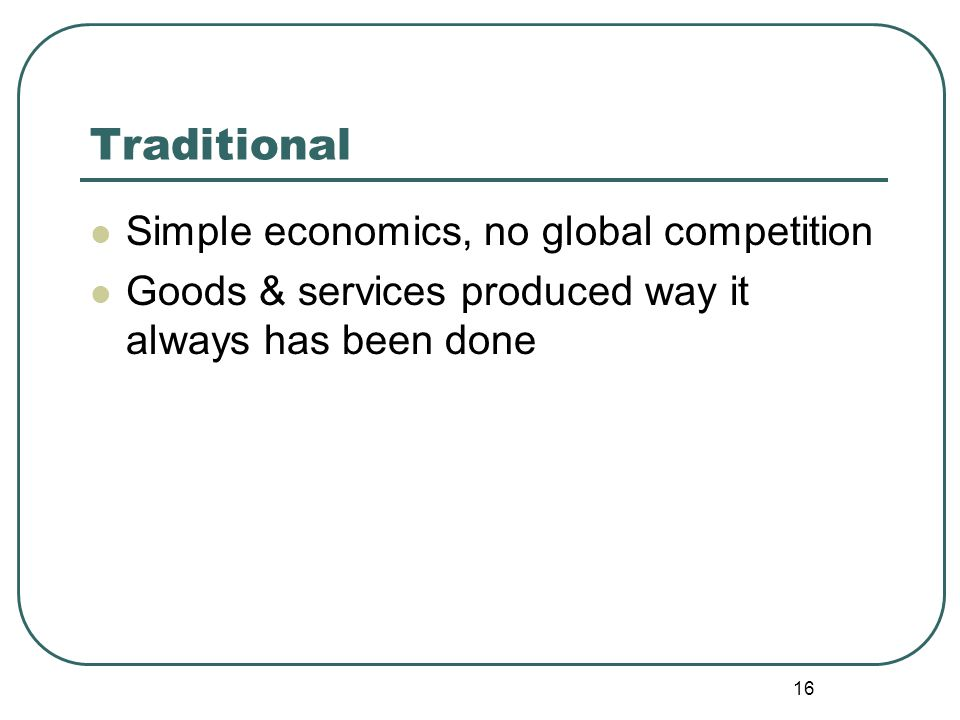 Traditional Simple economics, no global competition