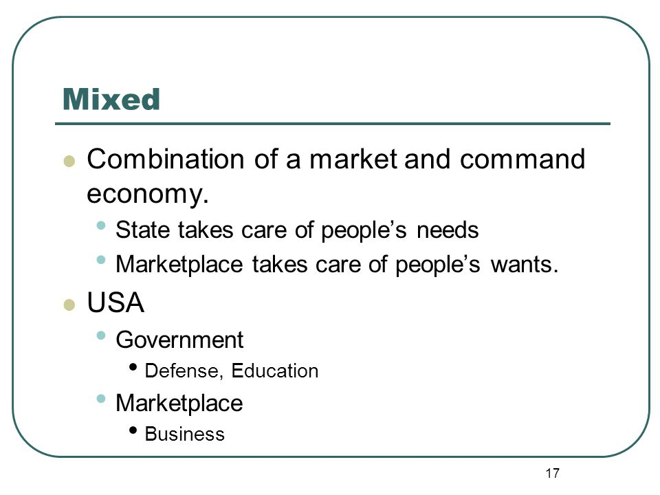 Mixed Combination of a market and command economy. USA