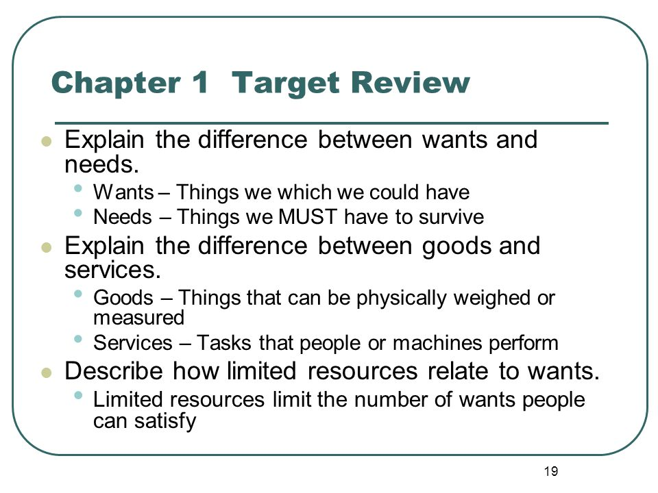 Chapter 1 Target Review Explain the difference between wants and needs. Wants – Things we which we could have.