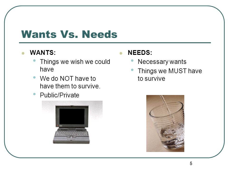 Wants Vs. Needs WANTS: Things we wish we could have
