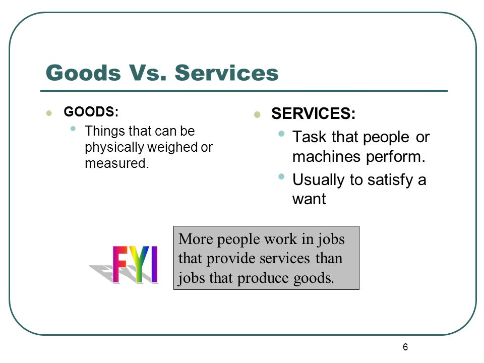 FYI Goods Vs. Services SERVICES: Task that people or machines perform.
