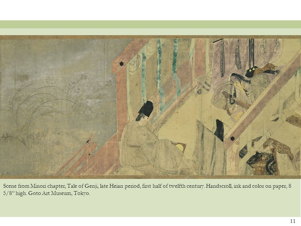 Scene from Minori chapter, Tale of Genji, late Heian period, first half of twelfth century.