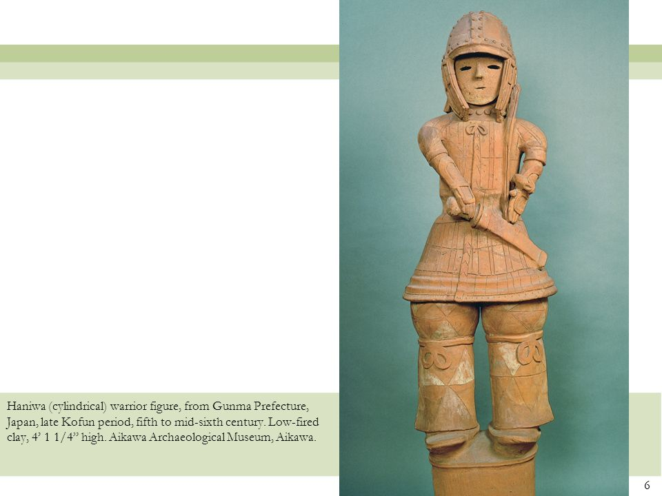 Haniwa (cylindrical) warrior figure, from Gunma Prefecture, Japan, late Kofun period, fifth to mid-sixth century.