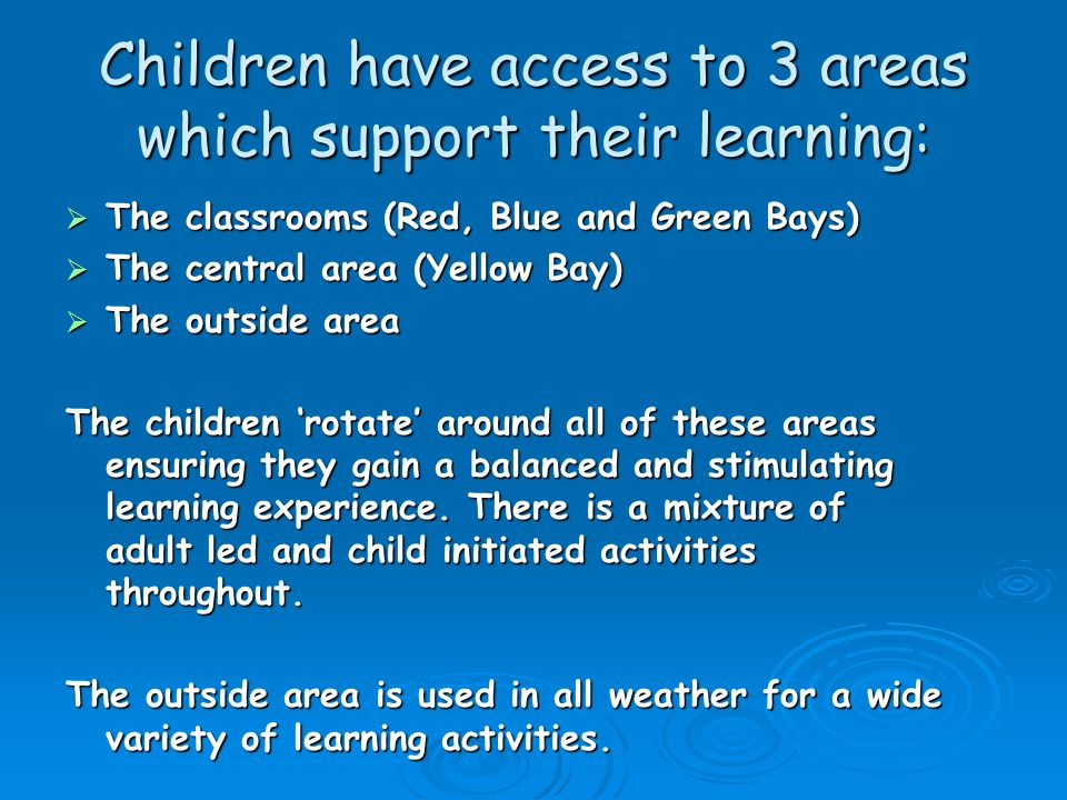 Children have access to 3 areas which support their learning: