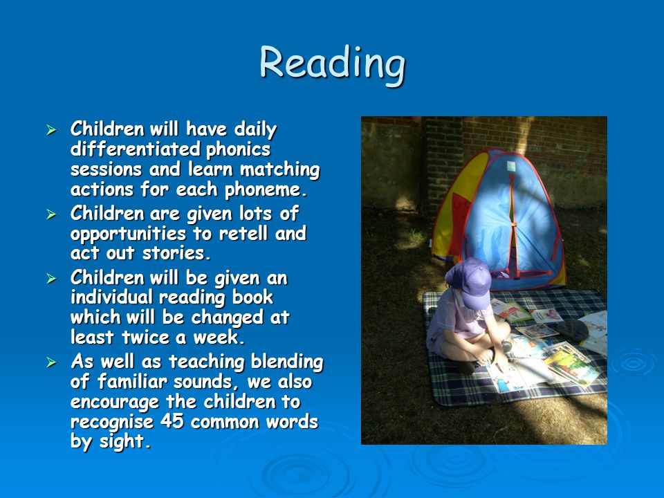 Reading Children will have daily differentiated phonics sessions and learn matching actions for each phoneme.
