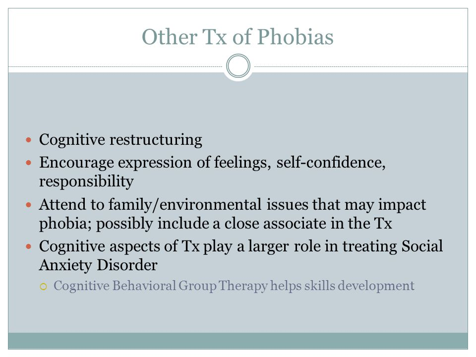Other Tx of Phobias Cognitive restructuring