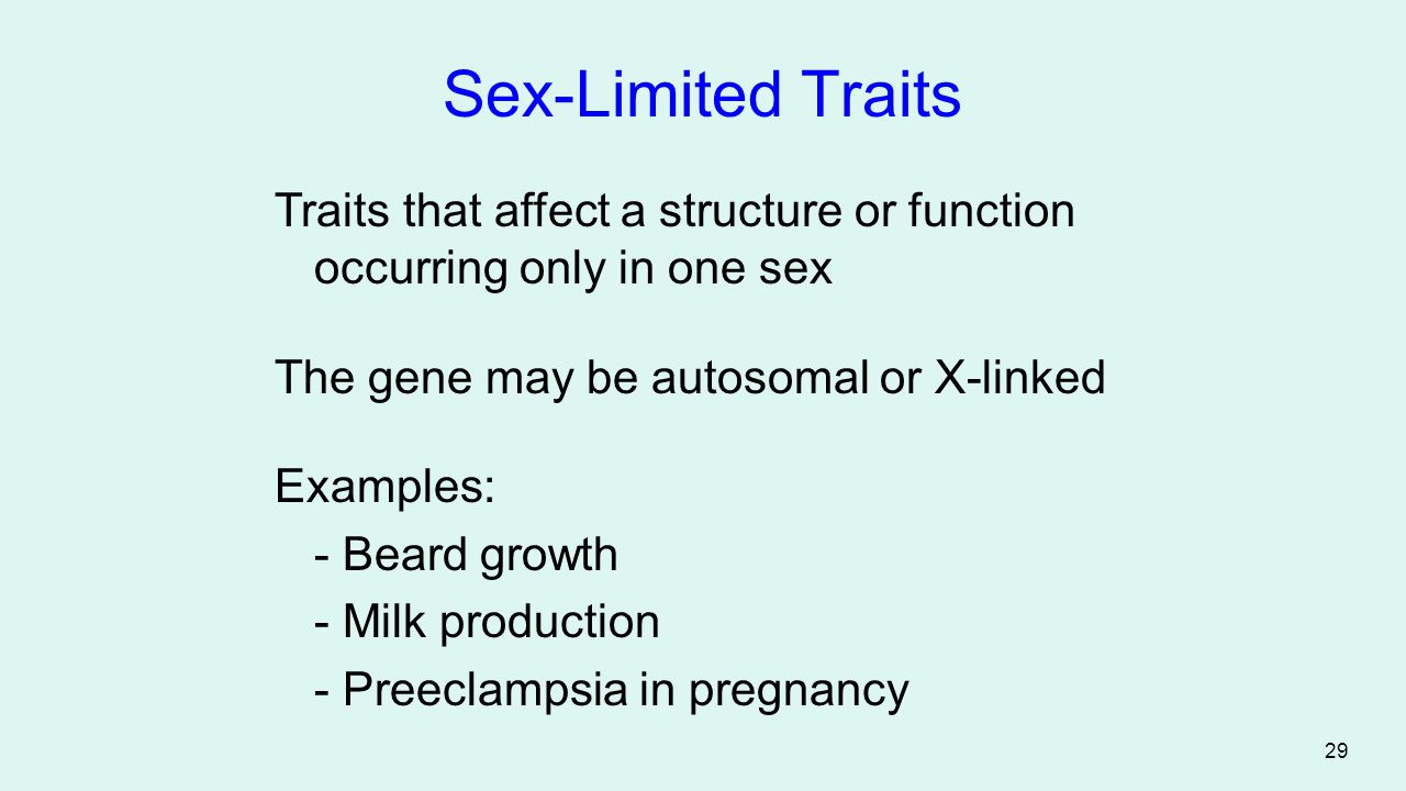 Sex-Limited Traits Traits that affect a structure or function occurring only in one sex. The gene may be autosomal or X-linked.
