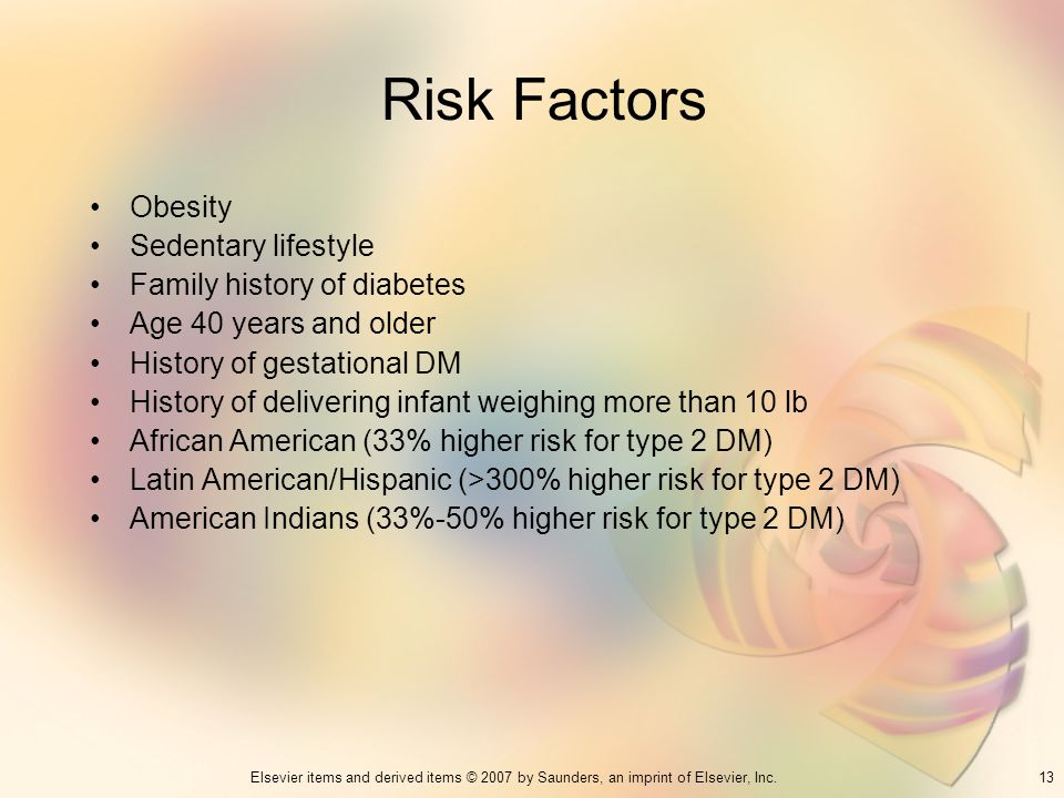Risk Factors Obesity Sedentary lifestyle Family history of diabetes