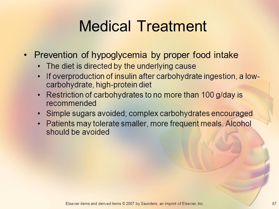 Medical Treatment Prevention of hypoglycemia by proper food intake