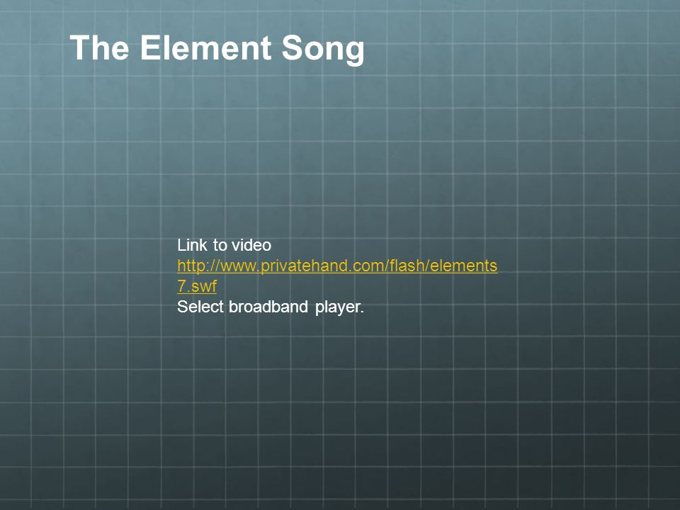 The Element Song Link to video