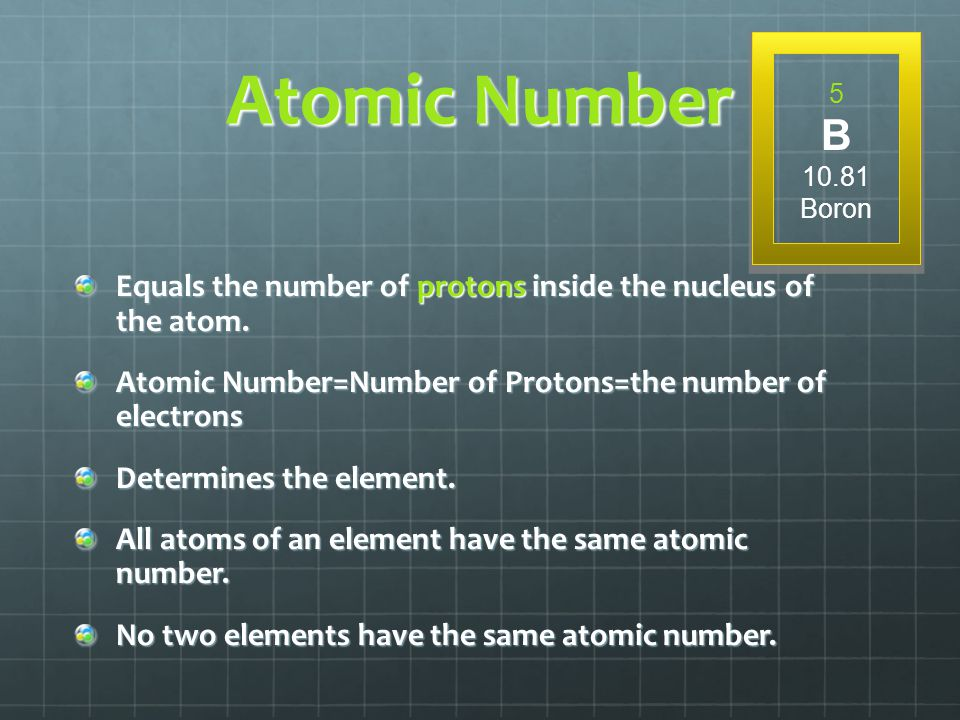 Atomic Number 5. B. 10.81. Boron. Equals the number of protons inside the nucleus of the atom.
