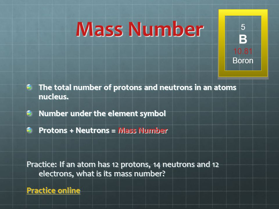 Mass Number 5. B. 10.81. Boron. The total number of protons and neutrons in an atoms nucleus. Number under the element symbol.