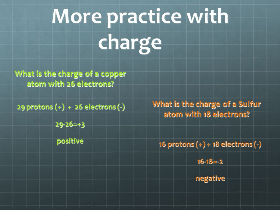 More practice with charge