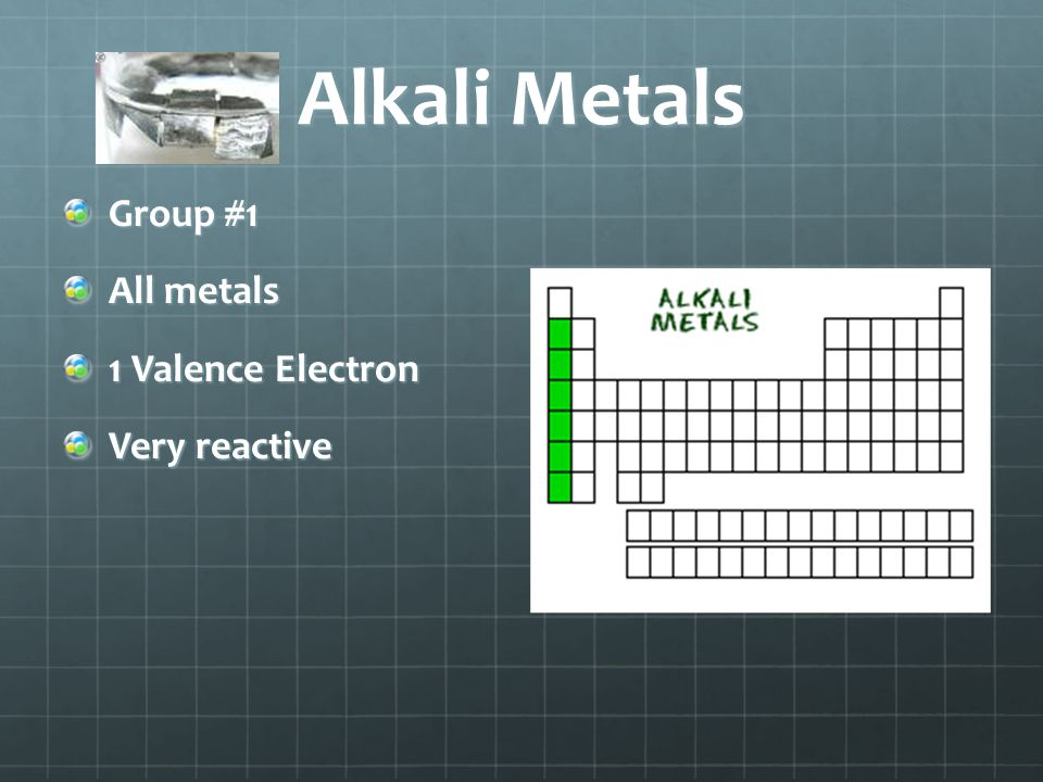 Alkali Metals Group #1 All metals 1 Valence Electron Very reactive