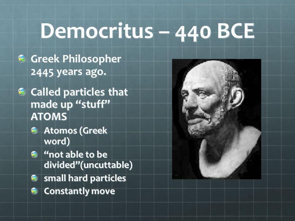 Democritus – 440 BCE Greek Philosopher 2445 years ago.
