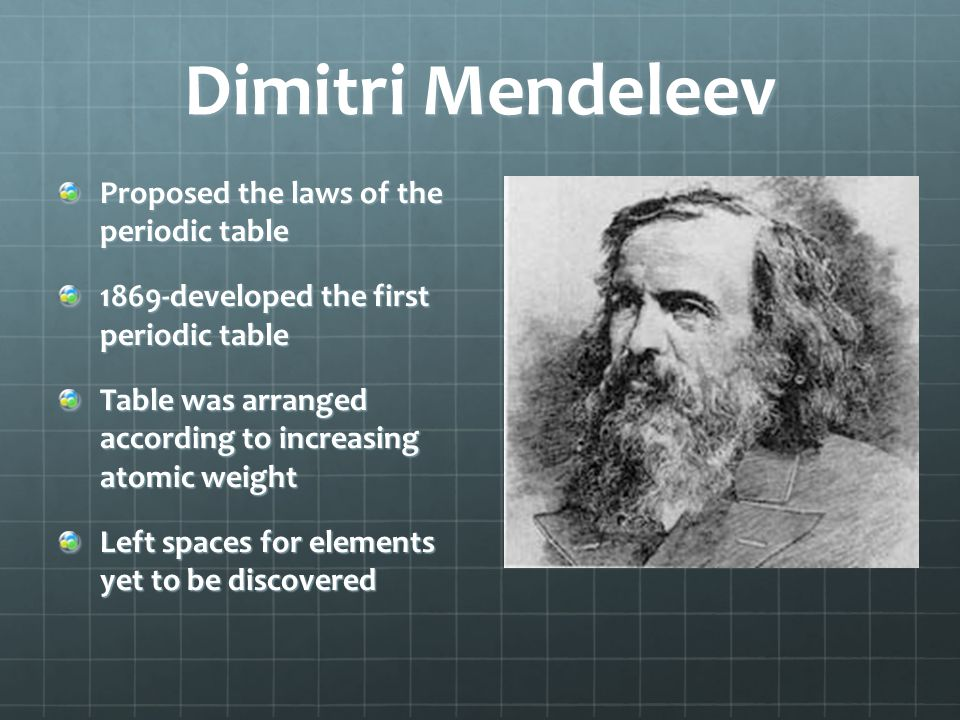 Dimitri Mendeleev Proposed the laws of the periodic table