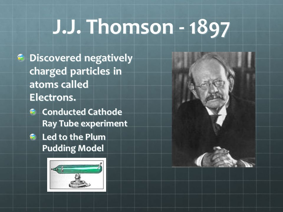 J.J. Thomson - 1897 Discovered negatively charged particles in atoms called Electrons. Conducted Cathode Ray Tube experiment.