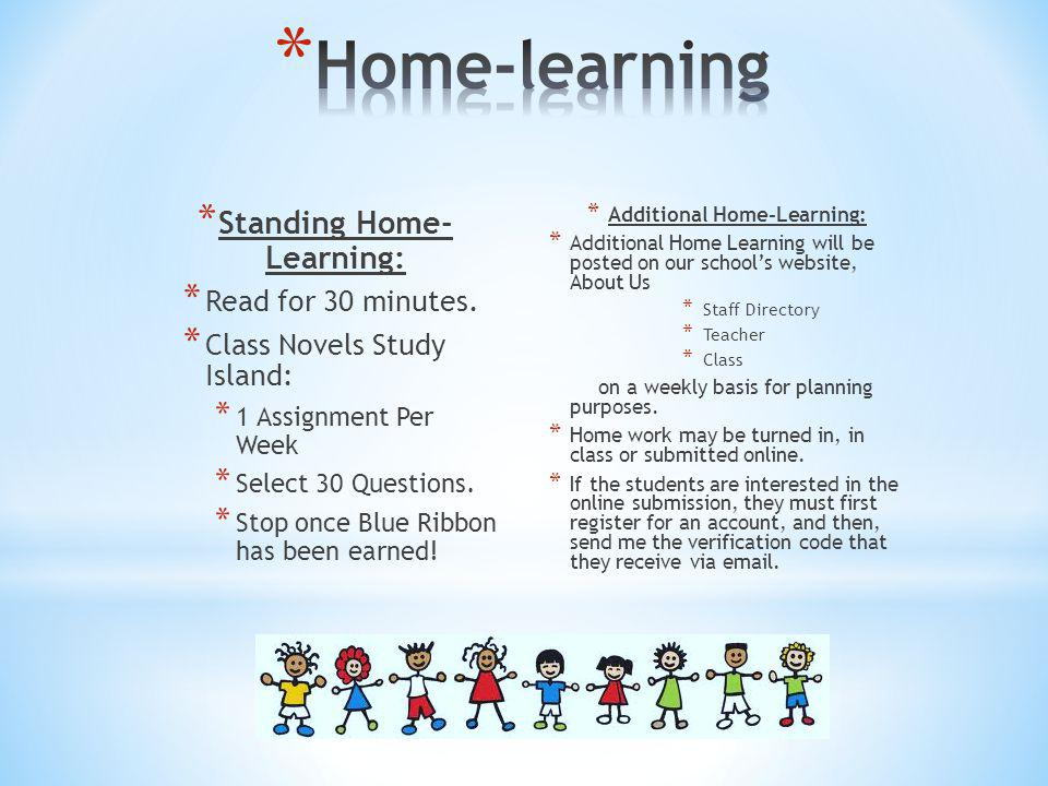 Standing Home- Learning: Additional Home-Learning: