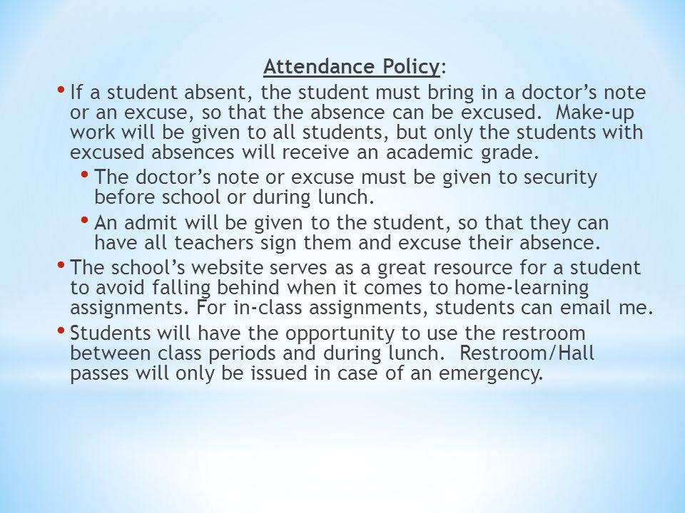 Attendance Policy: