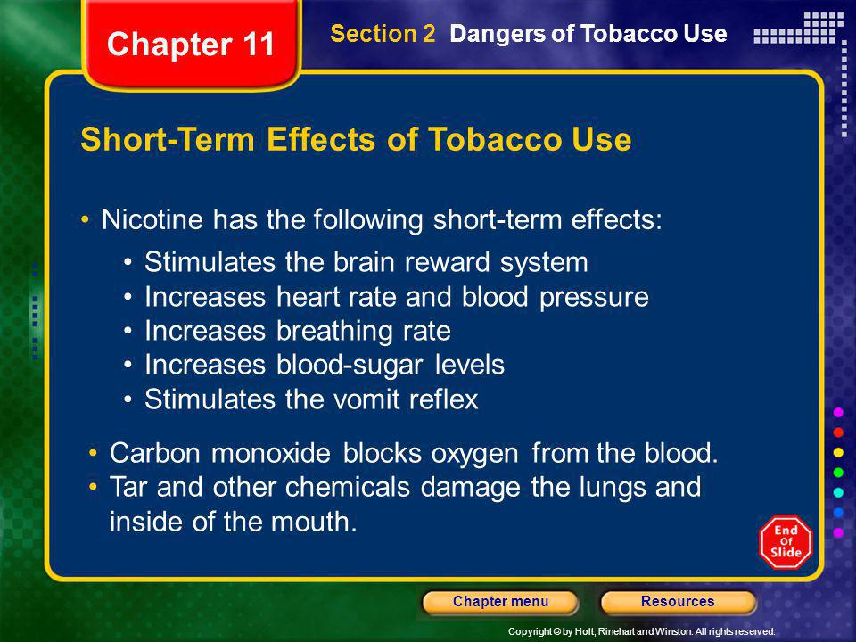 Short-Term Effects of Tobacco Use