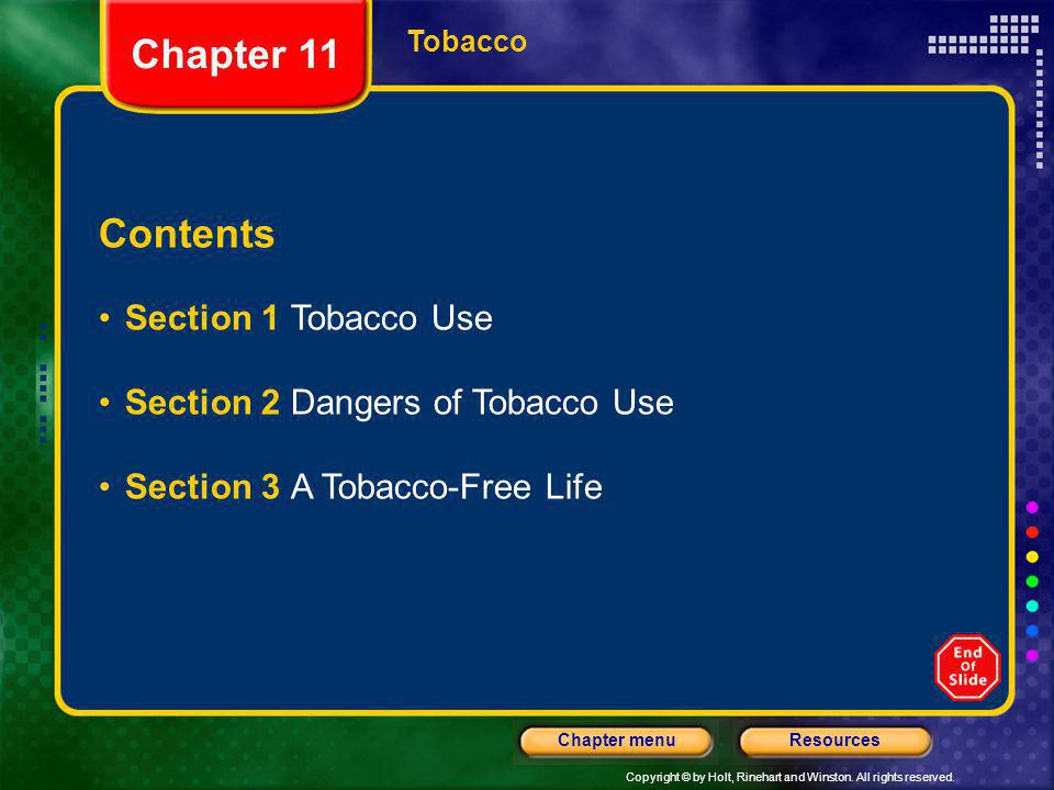 Chapter 11 Contents Section 1 Tobacco Use