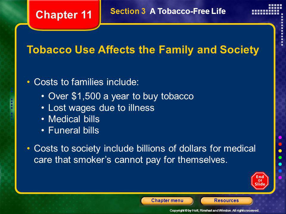 Tobacco Use Affects the Family and Society