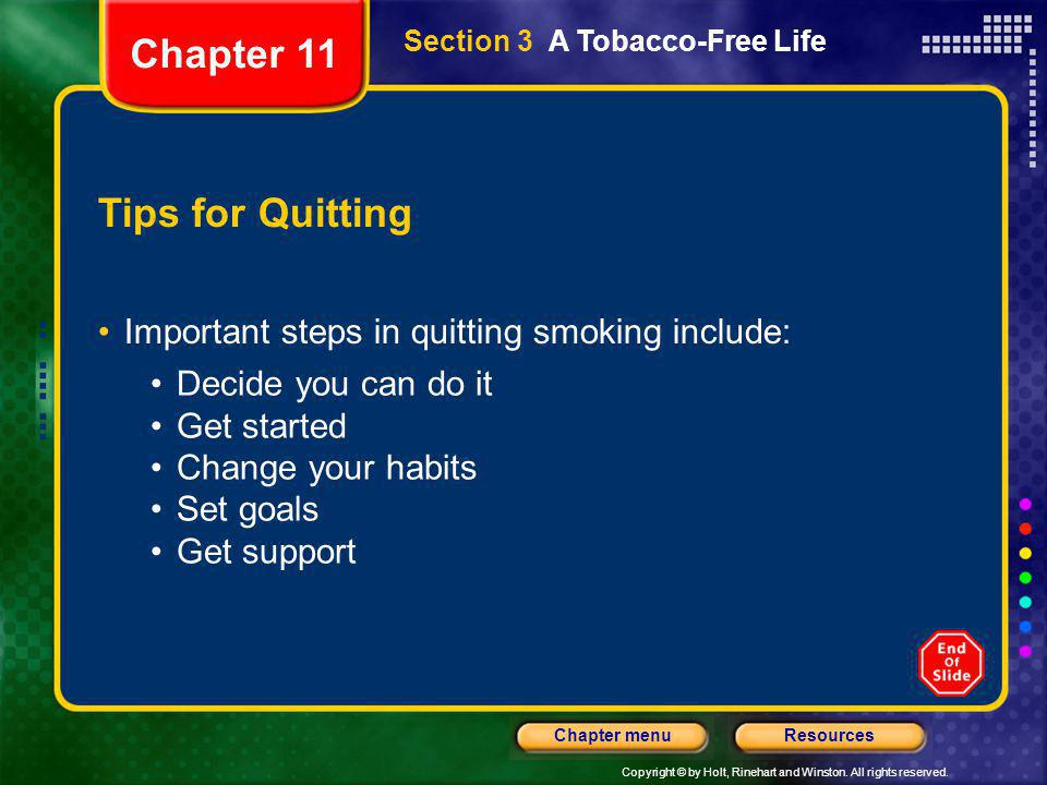 Chapter 11 Tips for Quitting